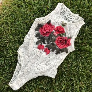 Rose Lace Leotard by Love Nation